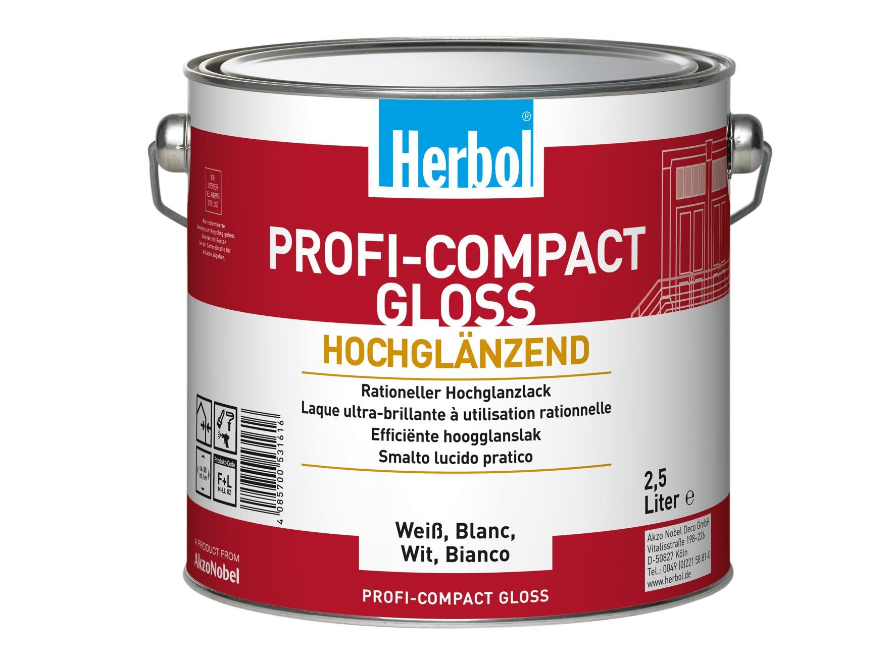 Bild: Herbol Profi Compact Gloss Weiss 2,5 Liter